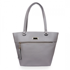 Generic Women's Faux Leather Tote Bag (Grey)