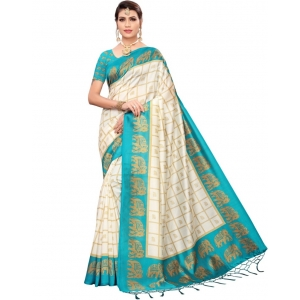 Generic Women's Mysore Silk Printed Saree With Blouse (Firozi, 5-6 Mtrs)
