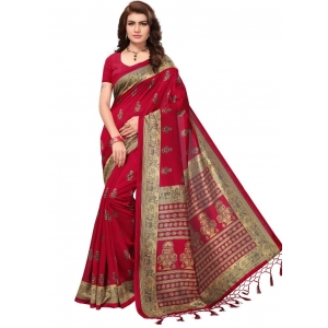 Generic Women's Mysore Silk Printed Saree With Blouse (Red, 5-6 Mtrs)