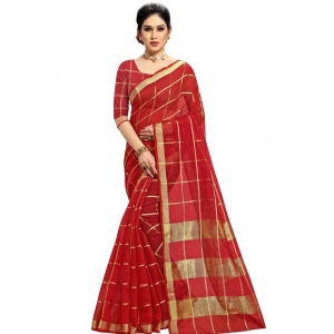 Generic Women's Kota Doria Cotton Checkered Saree With Blouse (Red, 5-6 Mtrs)