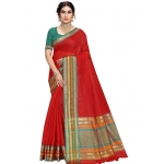 Generic Women's Kota Doria Cotton Bordered Saree With Blouse (Red, 5-6 Mtrs)