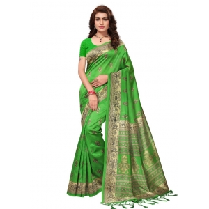 Generic Women's Mysore Silk Printed Saree With Blouse (Green, 5-6 Mtrs)