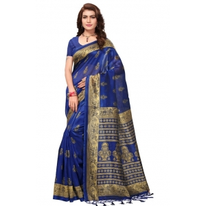 Generic Women's Mysore Silk Printed Saree With Blouse (Blue, 5-6 Mtrs)