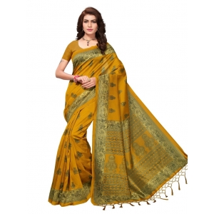 Generic Women's Mysore Silk Printed Saree With Blouse (Gold, 5-6 Mtrs)
