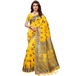 Generic Women's Mysore Silk Printed Saree With Blouse (Yellow, 5-6 Mtrs)