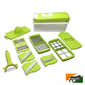 12 in 1 Plastic Stainless Steel Multi Purpose Vegetable & Fruit Hand Chopper Cutter Grater Slider Dicer Grater for Home and Kitchen  (Color: Assoted)