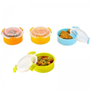 Combo 4_Pcs Microwave Safe Containers Lunch Box (Color: Assoted)