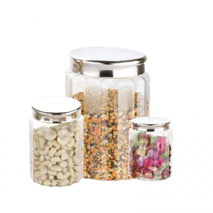 Kitchen Storage Airtight, Transparent 3 Pieces Round Jar Container with Stainless Steel lid (Color: Assoted)