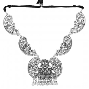 Generic Antique German Silver Plated Oxidised Metal Necklace… Color: Silver)
