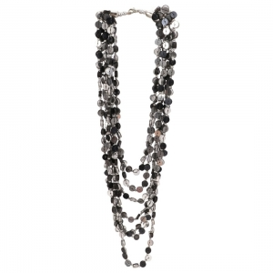 Generic Jewellery Stylish Silver Black Beads Necklace Color: Grey)