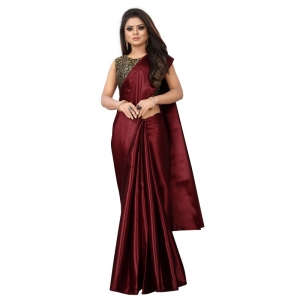 Generic Women's Satin Plain Saree With Blouse (Maroon, 5-6 Mtrs)