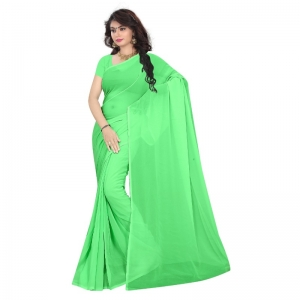 Generic Women's Georgette Plain Saree With Blouse (Pista Green, 5-6 Mtrs)