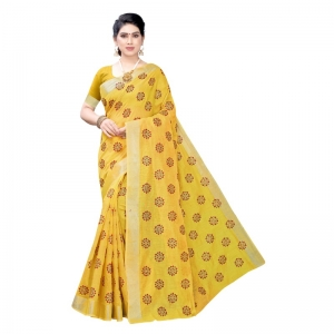 Generic Women's Linen Blend Digital Print Saree With Blouse (Yellow, 5-6 Mtrs)