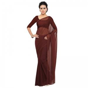 Generic Women's Georgette Plain Saree With Blouse (Coffee, 5-6 Mtrs)