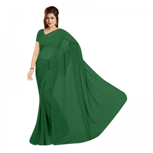 Generic Women's Georgette Plain Saree With Blouse (Dark Green, 5-6 Mtrs)