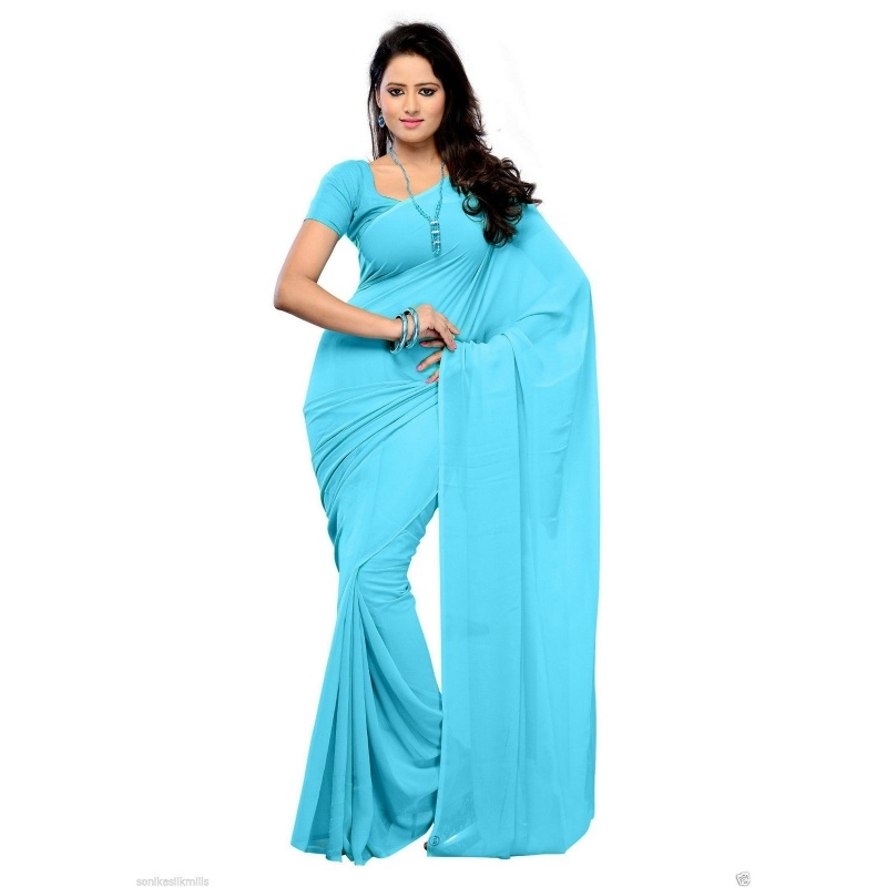 Generic Women's Georgette Plain Saree With Blouse (Pink, 5-6 Mtrs)