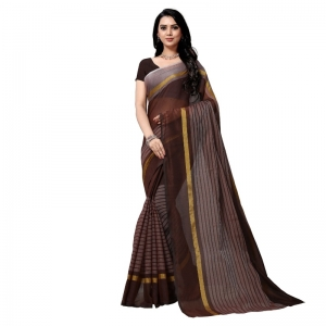 Generic Women's Cotton Silk Stripes Saree With Blouse (Brown, 5-6 Mtrs)