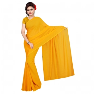Generic Women's Georgette Plain Saree With Blouse (Gold, 5-6 Mtrs)