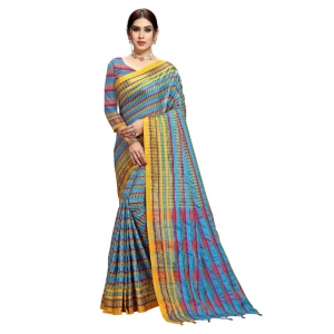 Generic Women's Cotton Silk Checkered Saree With Blouse (Sky Blue, 5-6 Mtrs)