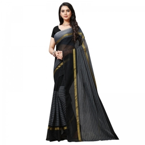 Generic Women's Cotton Silk Stripes Saree With Blouse (Black, 5-6 Mtrs)