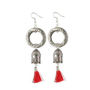 Generic Women's Oxidized Silver plated Tassel Fashion Earring (Color: Red)