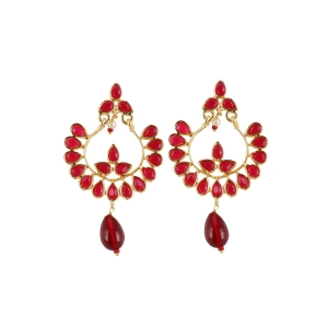 Generic Women's Onyx Stone, Gold plated Hook Dangler Hanging Fashion Earring (Color: Red)
