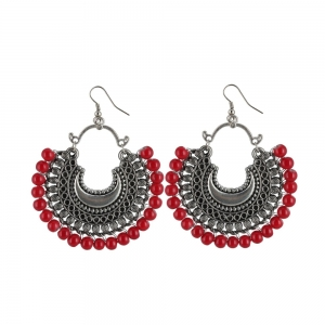 Generic Women's Silver Plated Hook Dangler Hanging Beads Earring (Color: Red)