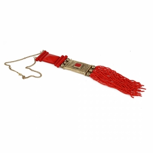 Generic Women's Red and Golden Designer Tibetan Style Beads Necklace (Color: Red)