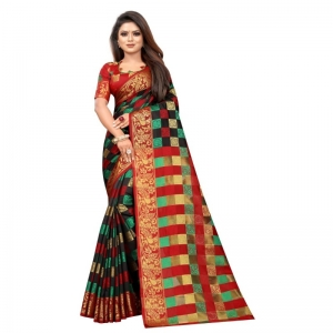 Generic Women's Jacquard Saree With Blouse (Black, 5-6 Mtrs)