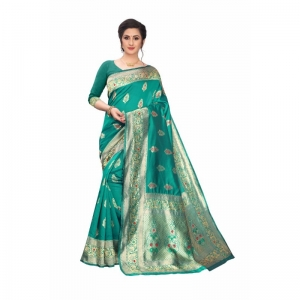 Generic Women's Jacquard Saree With Blouse (Turquoise Green, 5-6 Mtrs)