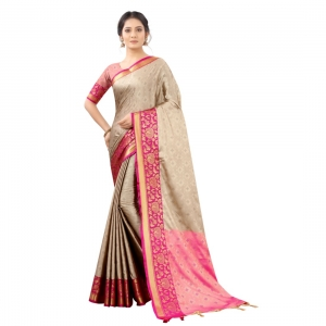 Generic Women's Silk  Saree With Blouse (Beige, 5-6 Mtrs)