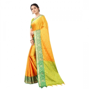 Generic Women's Silk  Saree With Blouse (Yellow With Green, 5-6 Mtrs)