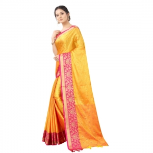 Generic Women's Silk  Saree With Blouse (Yellow With Pink, 5-6 Mtrs)