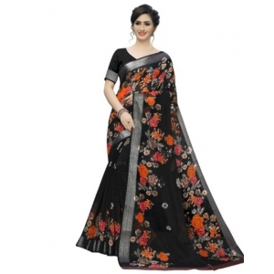 Generic Women's Cotton Silk  Saree With Blouse (Black, 5-6 Mtrs)