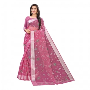 Generic Women's Georgette Saree With Blouse (Pink, 5-6 Mtrs)
