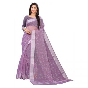 Generic Women's Georgette Saree With Blouse (Lavender, 5-6 Mtrs)