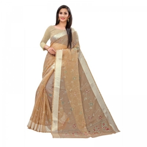 Generic Women's Georgette Saree With Blouse (Beige, 5-6 Mtrs)