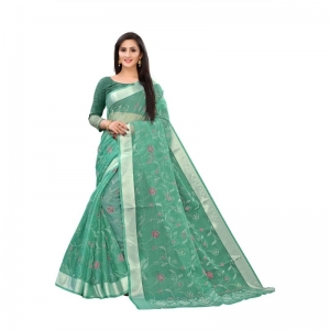 Generic Women's Georgette Saree With Blouse (Green, 5-6 Mtrs)