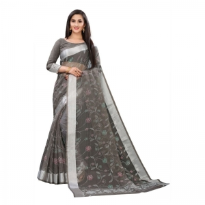 Generic Women's Georgette Saree With Blouse (Dark Greay, 5-6 Mtrs)