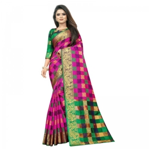 Generic Women's Jacquard Saree With Blouse (Pink, 5-6 Mtrs)