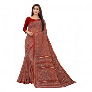 Generic Women's Georgette Saree With Blouse (Brown, 5-6 Mtrs)