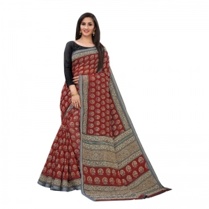 Generic Women's Georgette Saree With Blouse (Maroon, 5-6 Mtrs)