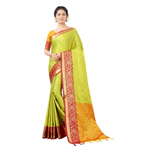 Generic Women's Silk  Saree With Blouse (Light Green, 5-6 Mtrs)