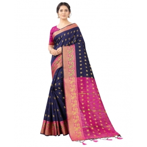 Generic Women's Cotton Silk  Saree With Blouse (Navy Blue With Pink, 5-6 Mtrs)
