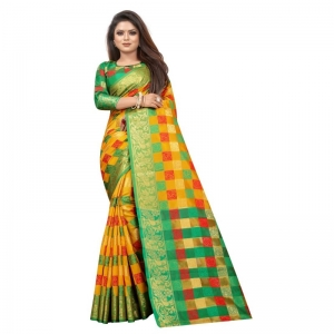 Generic Women's Jacquard Saree With Blouse (Yellow, 5-6 Mtrs)