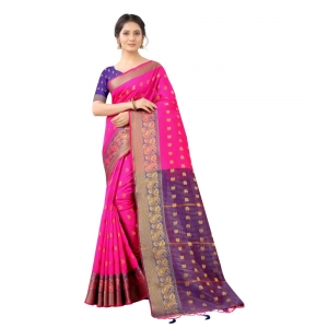 Generic Women's Cotton Silk  Saree With Blouse (Pink With Navy Blue, 5-6 Mtrs)