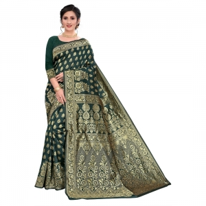 Generic Women's Jacquard Saree With Blouse  (Dark Green, 5-6 Mtrs)