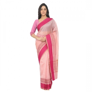 Generic Women's Silk Cotton  Saree With Blouse  (Light Pink, 5-6 Mtrs)
