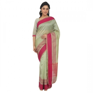 Generic Women's Silk Cotton  Saree With Blouse  (Light Green, 5-6 Mtrs)