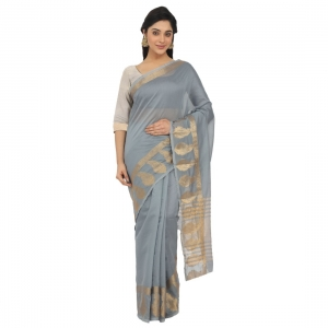 Generic Women's Cotton Silk Saree With Blouse  (Greay, 5-6 Mtrs)